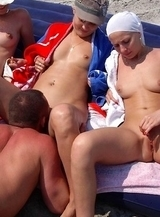 swingers shared herself for other among nudists